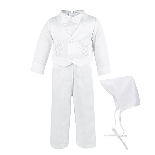 Baby Boy's Satin Christening Baptism Outfits Infant Vest Set with Long Sleeves