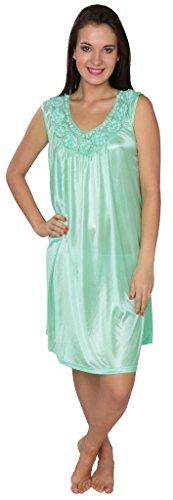 Beverly Rock Women's Tricot Long Silk Satin Shiny Sleeveless Nightgown FUF035 Mint Green L