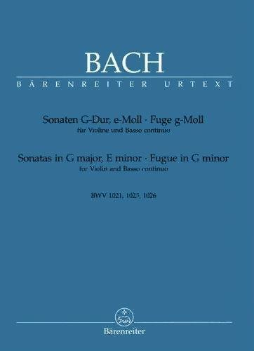 Bach J.S. Sonatas in G Major e minor Fugue in g minor BWV 1021 BWV 1021 Violin-Piano Barenreiter (Bach Fugue In G Minor Violin Sheet Music)