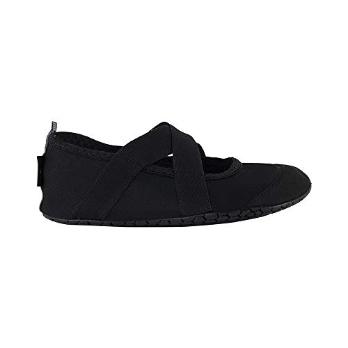 (FitKicks Crossovers Women's Foldable Active Lifestyle Minimalist Footwear Barefoot Yoga Water Shoes Black)