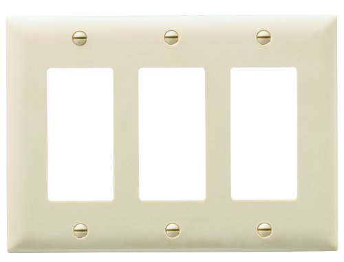 Legrand - Pass & Seymour TP263ICC12 Trade Master Nylon Wall Plate with Three Decorator Openings, Three Gang, Ivory