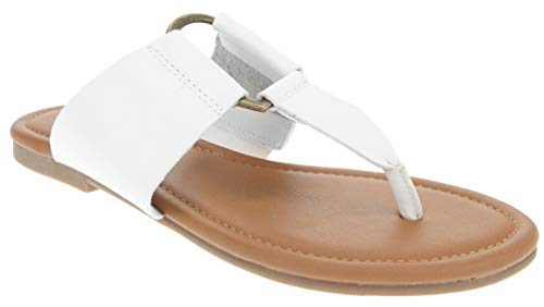 Chinese Thong Sandals - Sugar Women's Pacific Flat Thong Sandal with Ring Hardware White 7