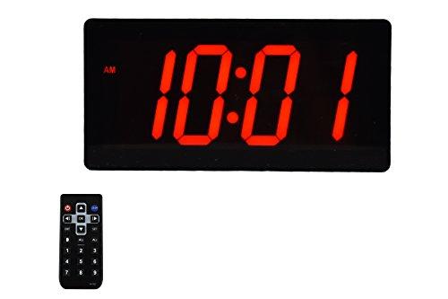 """Large Huge & Digital Display 4"""" Digits LED Best Alarm Clock With Remote"""