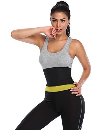CROSS1946 Women's Slimming Sweat Belts Neoprene Sauna Shapers Bands Waist Cincher Girdle for Weight Loss Black M