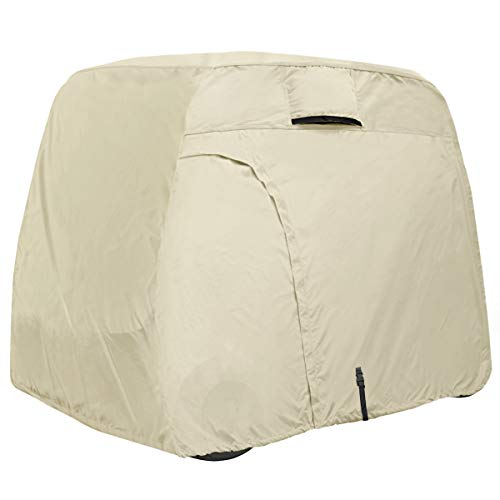 Explore Land 600D Waterproof Golf Cart Cover Fits for Most Brand 2 Passengers Golf Cart (Light Tan)