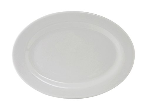 Edge China Platter - Tuxton ALH-136 Vitrified China Alaska Oval Platter, Wide Rim, Rolled Edge, 13-3/4