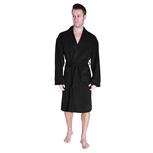 Cherokee Men's Fleece Robe, Black, XL (Green Mens Robe)