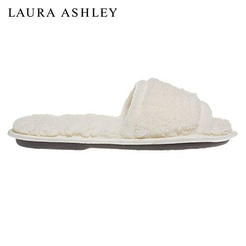Laura Kvinna Ashley Damer Lyx Spa Sherpa Ett Band Med Minne Skum Tofflor (se Fler Färger Och Storlekar) Grädde