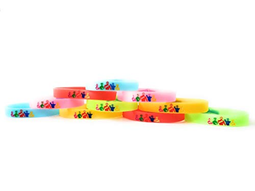 RED, GREEN, PINK, BLUE AND YELLOW RANGERS Bracelets Kids Birthday Party Favors - GLOW IN THE DARK (10 pack) -