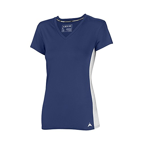 Arctic Cool Women's V-Neck Instant Cooling Shirt with Mesh Side Panels , Midnight Blue, S