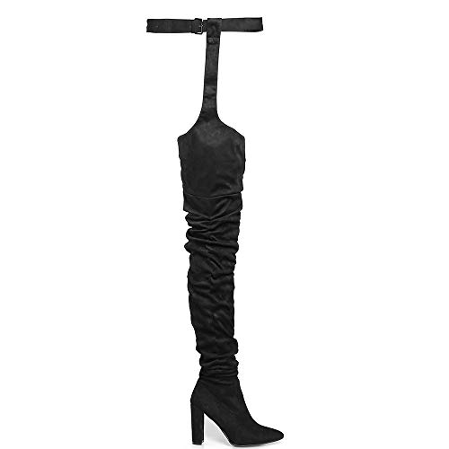 OLCHEE Women's Fashion Thigh High Boots - Over The Knee Pointed Toe Sexy High Heeled Boots with Belt - Block Heels Black Size 8