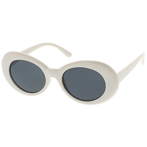 sunglassLA - Retro White Oval Sunglasses With Tapered Arms Colored Round Lens 51mm (White / - White Acne Sunglasses