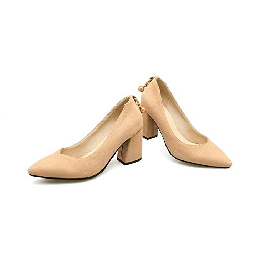 heels Women'S Thin High Shoes With 40414243 High Big Shoes Was Apricot Feet Yukun Large Thick Pointed Size Fall Heel qHw5W4FPF