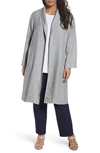 Eileen Fisher Plus Dark Pearl Journey Cross-Dyed Organic Linen Shawl Long Jacket Size 2X MSRP $518 - Eileen Fisher Long Wool Jacket