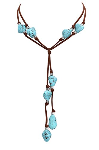 Necklace 18' Suede Jewelry (Natural Turquoise Necklace with Genuine Brown Leather Cord Costume Jewelry for Women 18'')
