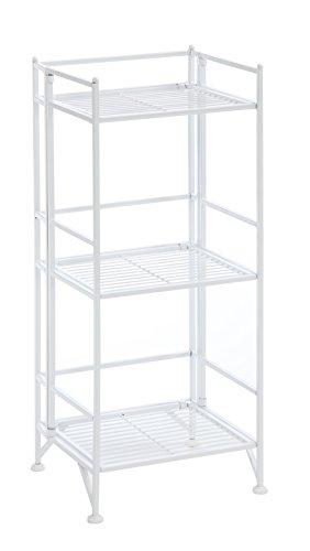 (Convenience Concepts Designs2Go X-Tra Storage 3-Tier Folding Metal Shelf, White)