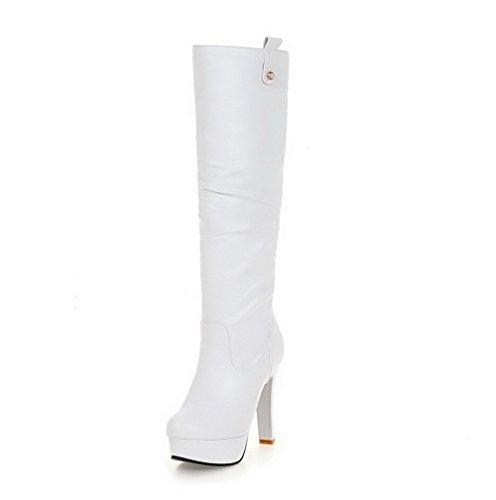 VogueZone009 Damen Rein Hoher Absatz Ziehen auf Rund Zehe Stiefel Weiß