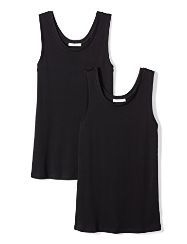 (Daily Ritual Women's Midweight 100% Supima Cotton Rib Knit Tank Top, 2-Pack, L, Black/Black)