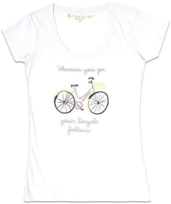 White T-Shirt Bike For Women Size - M