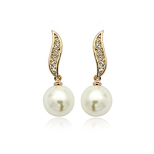 Made With Swarovski Crystal Elements 18k Pure Rose Gold Plated White Pearl Drop (Pure White Swarovski Pearls)
