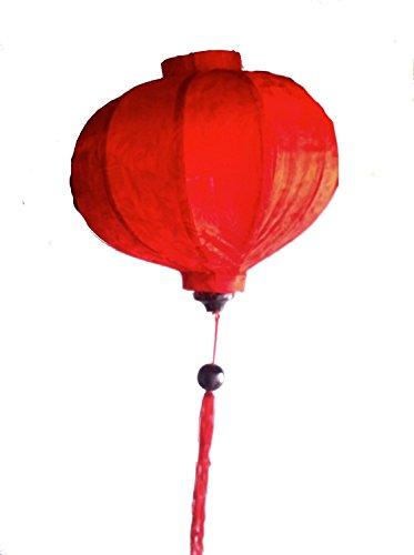 Vietnamese Silk & Bamboo Lampshade / Lantern (14 inch / 35cm) (Red)
