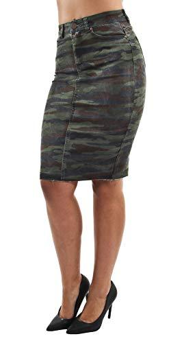 Women's Junior Butt Lift, Push Up, Knee Length Midi Pencil Denim Skirt in Camouflage Size L