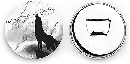 Lobo animal salvaje de pie en el pico abridor de botellas redondas aullando / imanes de nevera sacacorchos de acero inoxidable pegatina magnética 2 piezas