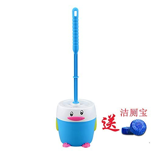 (QiXian Penguin Creative Toilet Brush Set Toilet Brush Soft Bristle Clean Flushing Toilet Brush No Niches Stainless Steel Round Wine Issanitary Latrines po Strong Sturdy, 7689)