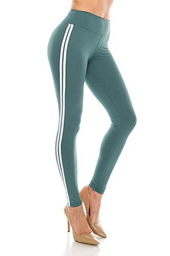 ALWAYS Women Solid Basic Soft Stretch Striped Leggings Seaform White Regular ()
