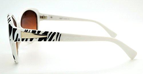Vox tendance classique haute qualité pour femme Mode Hot Lunettes de soleil W/étui microfibre gratuit White Zebra Frame - Brown Lens