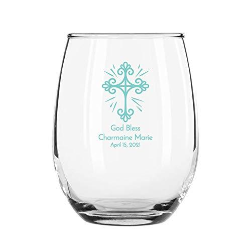 24 Pack Religious Cross Robin Egg Stemless 9 oz Wine Glass