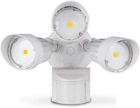 ASD LED Outdoor Flood Security Light with Motion Sensor, 30W, 3 Head, White, Motion Light, 5000K