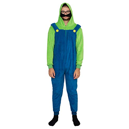 Adult Zip up Super Mario Brothers Luigi Green and Blue Costume Jumpsuit (Adult Large)