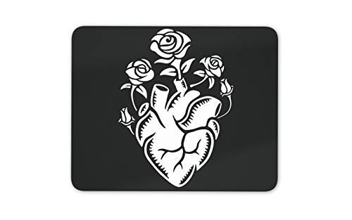 Cool Contemporary Art Heart Roses Mouse Mat Pad - Tattoo Sketch Love Gift #14763