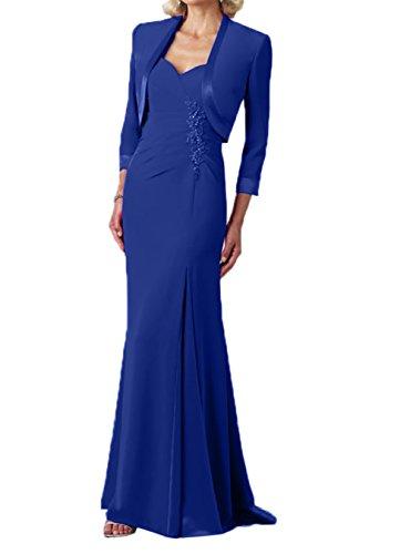 Jaket Chiffon lang Abendkleider Royal Blau Elegant Damen Brautmutterkleider Charmant Partykleider qw0T44