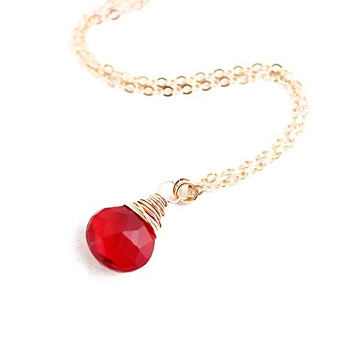 (Apple Red Gemstone Rose Gold Necklace - 18