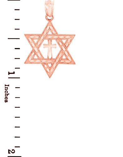 Petits Merveilles D'amour - 10 ct 471/1000 Charm Juive - Or Rose étoile de David Pendentif