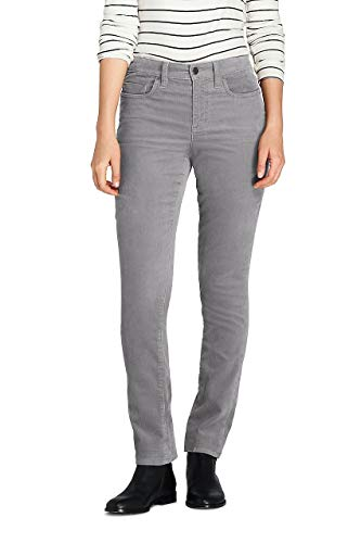 Lands' End Women's Petite Mid Rise Straight Leg Corduroy Pants, 6 26, Silver -