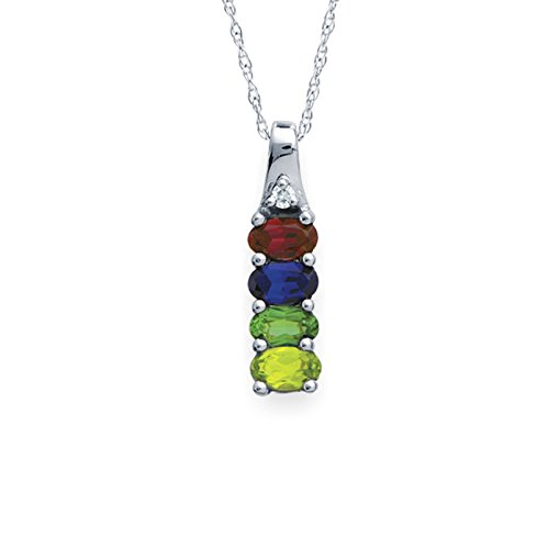 Mothers Birthstone and Diamond Accent Pendant Necklace - Custom Made with up to 6 Birthstones