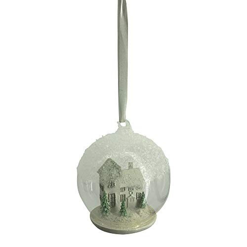 Comfy Hour Snowing Winter House in Glass Ball Christmas Tree Ornament, Xmas Decoration, White -