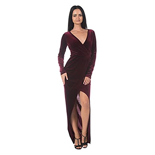 Womens Burgundy Wine Velvet Faux Wrap Glam Formal Evening Ball Gown Long Dress (Small)