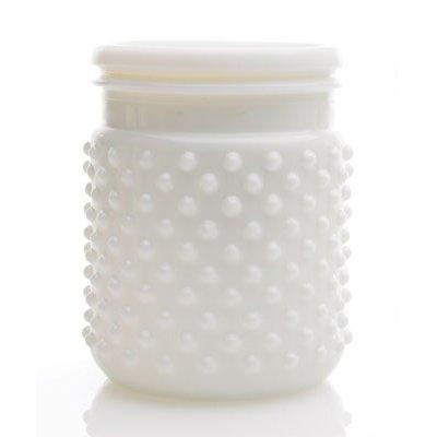 (Floral, White Hobnail Jar 4x5)