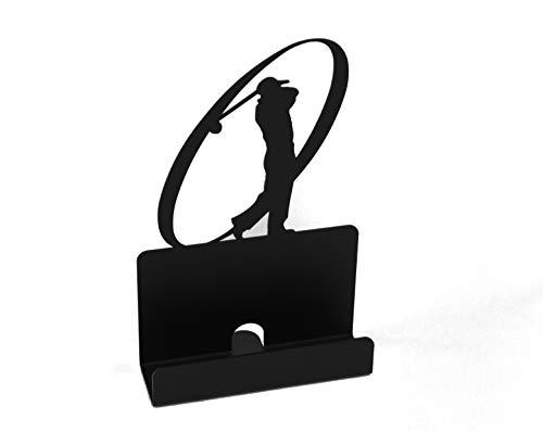 K&H Golfer Golfing Metal Desktop Business Name Card Holder, Black