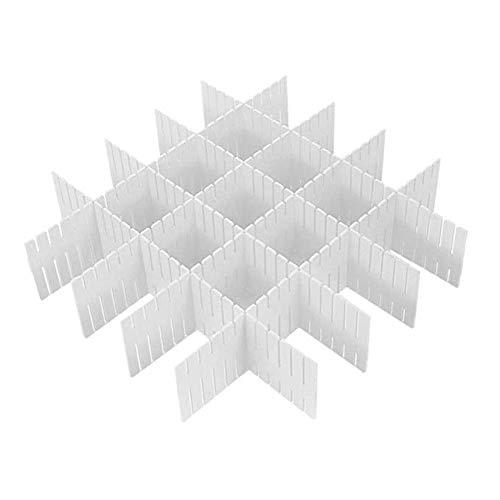 OuYou DIY Separadores Cajones 8 Piezas Plastico Blanco Ajustable - 8 Separadores de 32.4 * 7cm de Profundidad - Organizadores para Escritorio Cajones Bano Cocina y Habitacion - Set Separadores