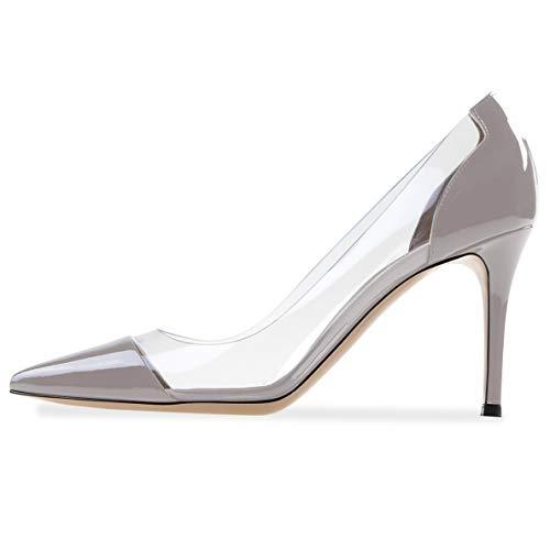 YODEKS Women's Gray Pumps Transparent High Heel Dress Shoes Elegant Stiletto Sexy Shoes US6