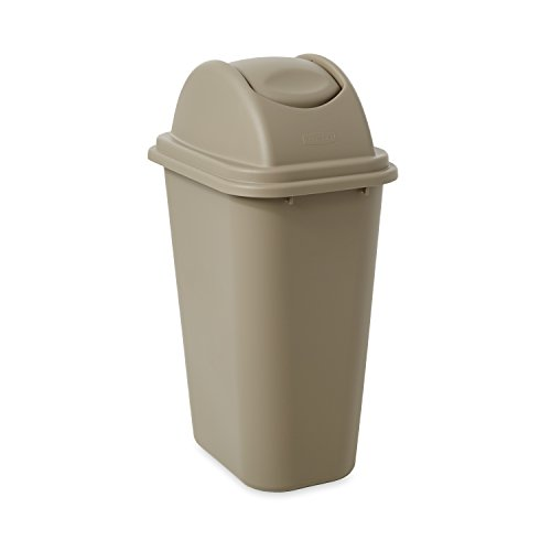 Rubbermaid Commercial Untouchable Top and Large Soft Trash Can Combo Pack, 10.31 Gallon, Beige