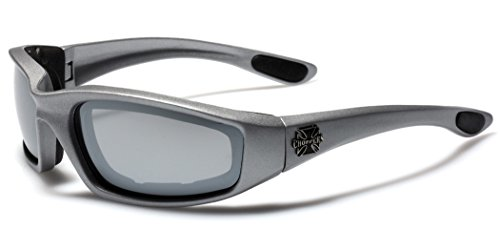 Choppers Padded Bikers Sport Sunglasses SILVER MIRRORED
