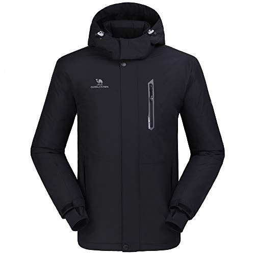 CAMEL CROWN Men's Waterproof Jacket, Windproof Ski Rain Snow Jacket Winter Warm Fleece Jackets with Hood, Breathable…