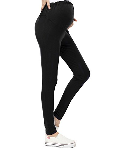 Harcadian Women's Maternity Yoga Pants Stretch Pregnancy Leggings Over Waistband Black One Size