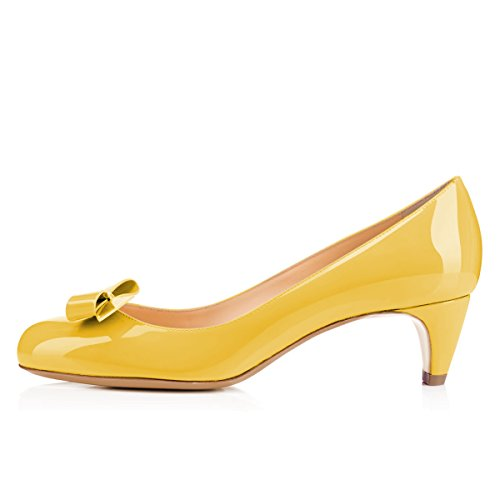 YDN Closed Ladies Heels Shoes Low Office Yellow Work Toe Women for Round with Pumps Bowknot rTawrxq